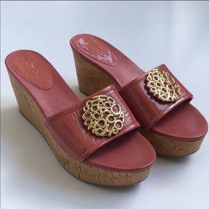 Coach Judith Platform Wedge Sandal Coral Size 7.5